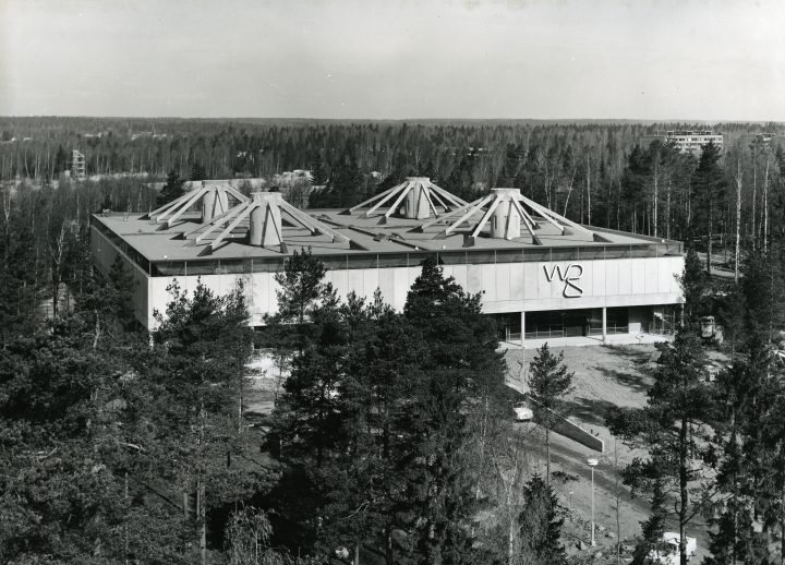 Aerial view from the South, the first phase, The WeeGee Exhibition Centre (Weiling & Göös Printing House)