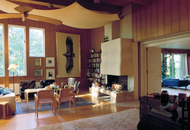 The music studio and on the right the living room, Villa Kokkonen