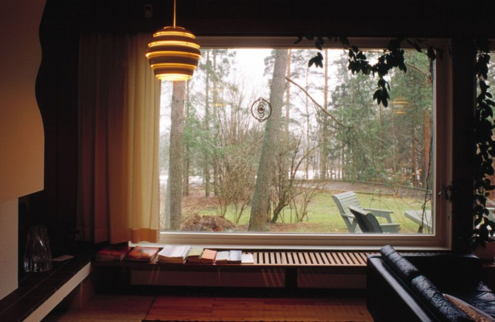 View from the living room, the pool outside, Villa Kokkonen