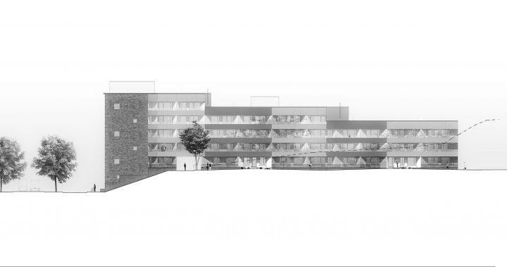 Courtyard side elevation, Heka Koirasaarentie 36 Affordable Housing