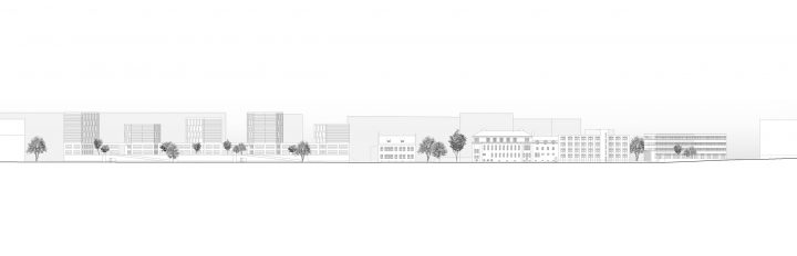 Areal elevation of the courtyard side, Aleksis Kiven katu 19 Housing