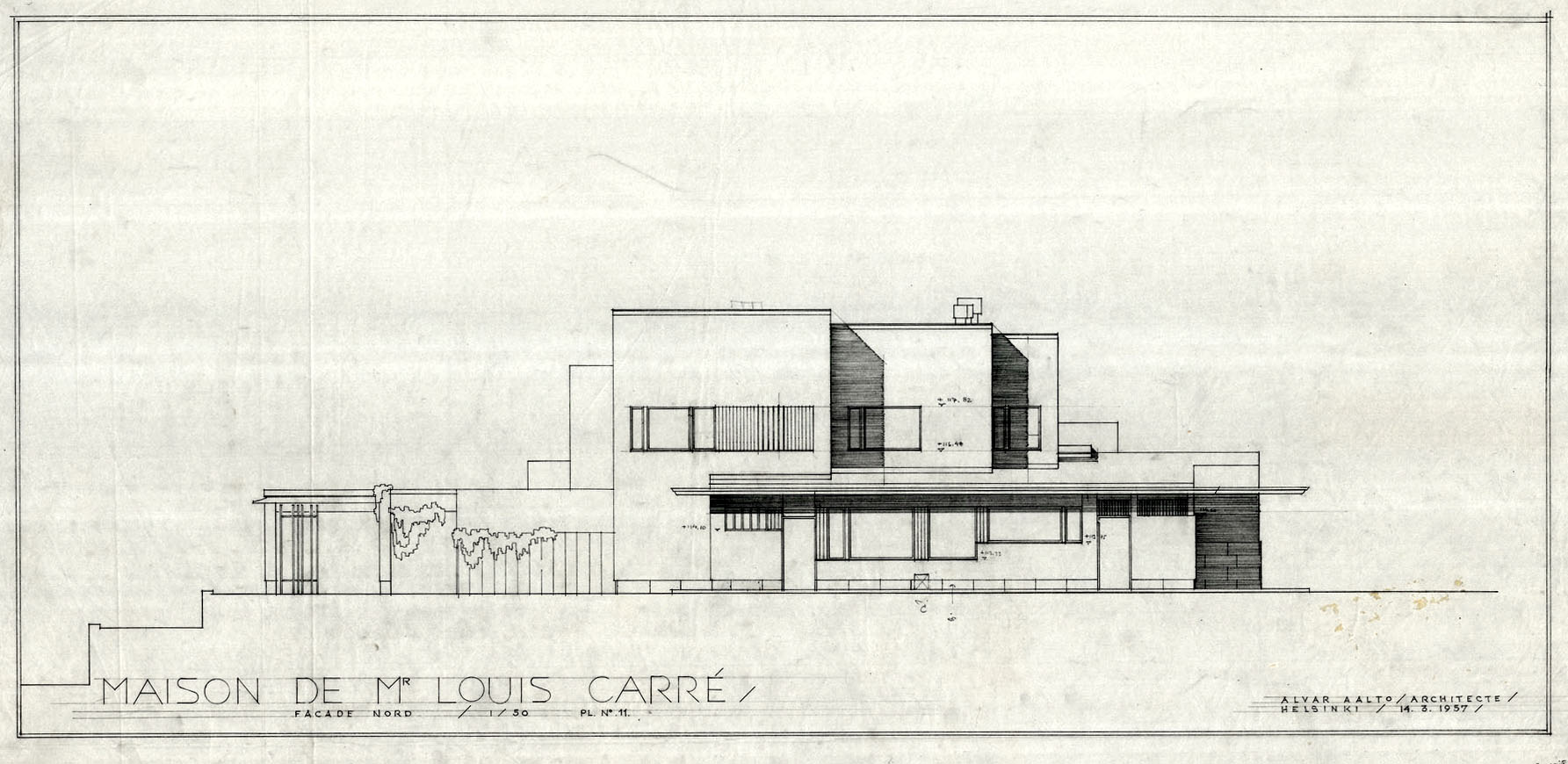 Plan Elevation Maison : Maison louis carré · finnish architecture navigator