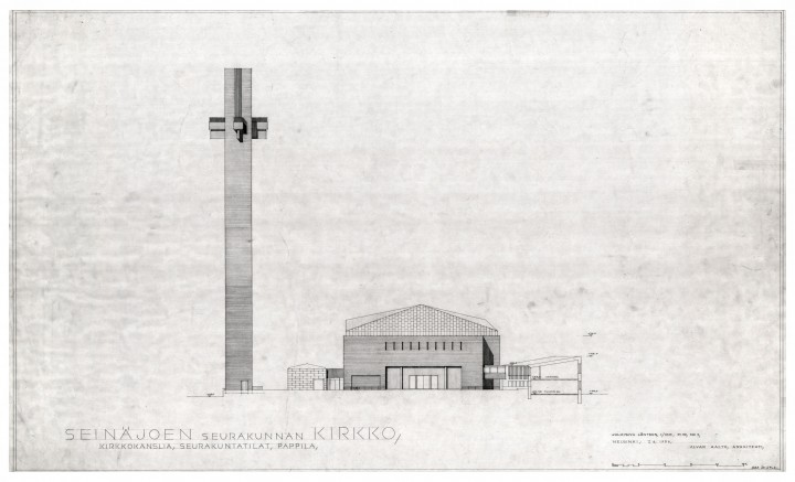 "West elevation and section, Cross of the Plains Church ""Lakeuden risti"""