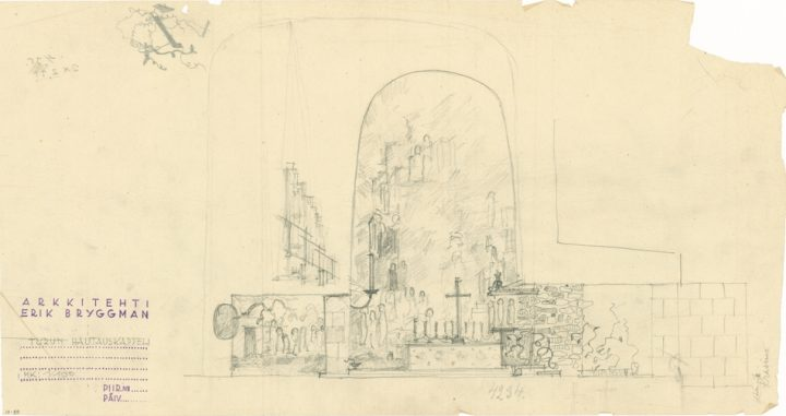Bryggman's sketch for the placement of the altar wall painting by Aarne Niinivirta (1906–1942), not implemented, Resurrection Chapel