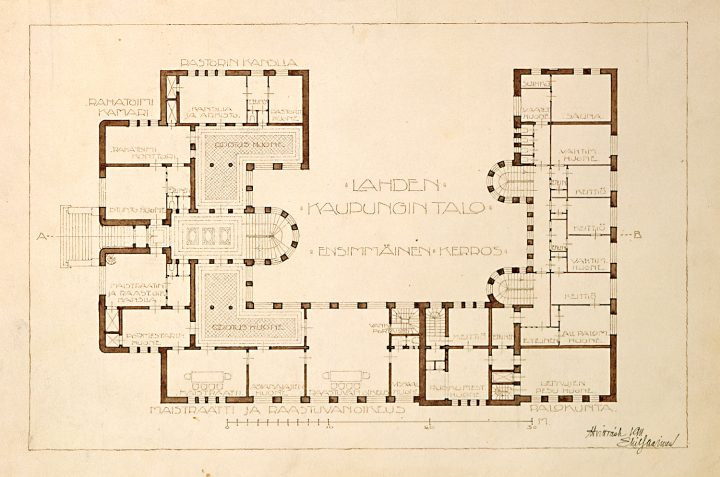 Floorplan of the ground floor, Lahti Town Hall