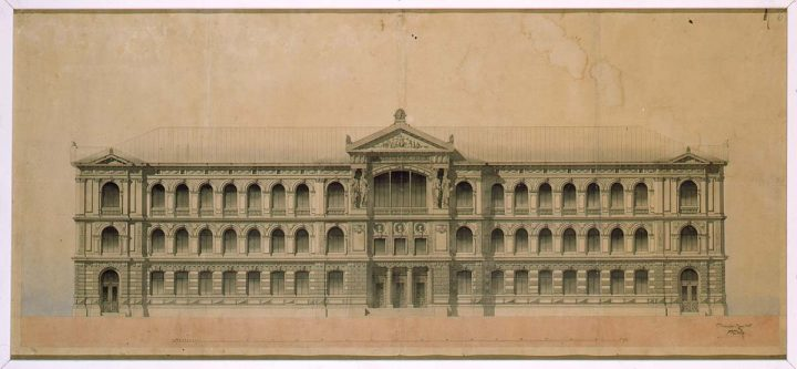 Original drawing of main façade, Ateneum Art Museum