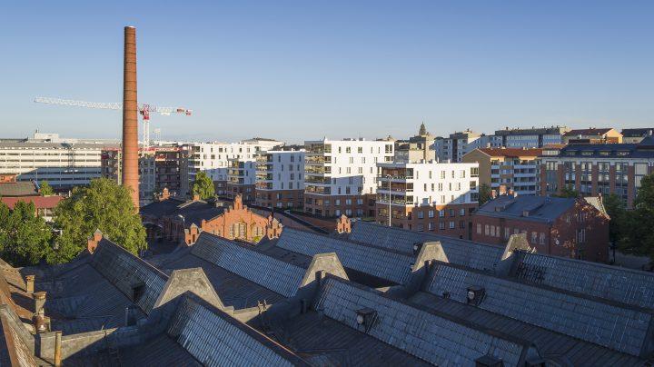 View over the old workshops, Aleksis Kiven katu 19 Housing