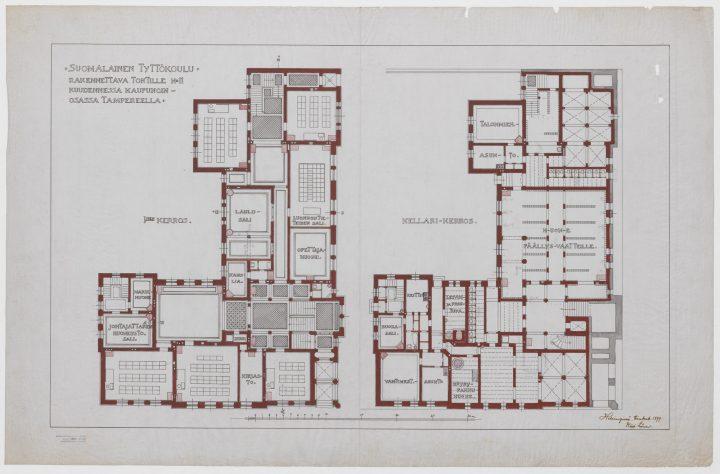 Basement floor and ground floor, Tampere Girls' School