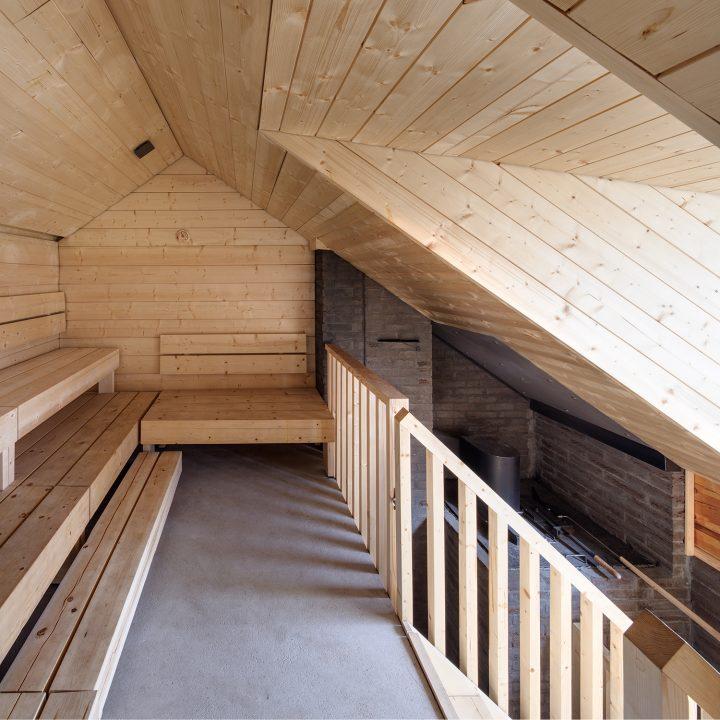 Steam room upper level, Lonna Sauna