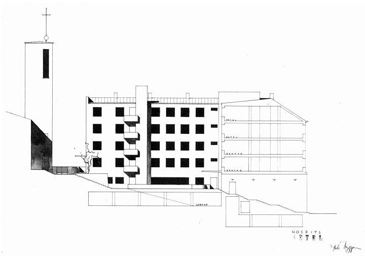 Yard façade and section., Hospitz Betel