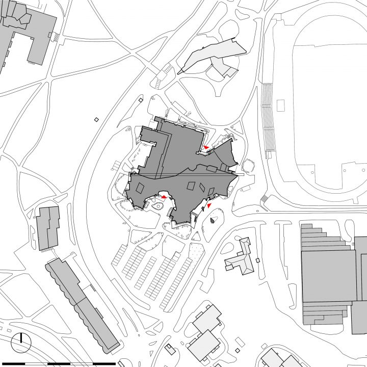 Site plan with Dipoli in the midst of the former Helsinki University of Technology campus in Otaniemi by Alvar Aalto, Dipoli