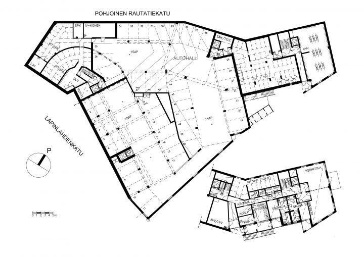 Basement and mezzanine, Kampin Helmi Senior Housing