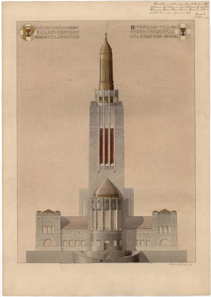 Original drawing of main façade., Kallio Church