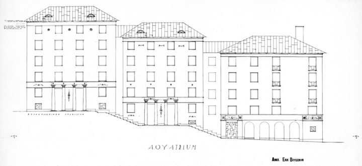 Drawing of the façade on the side of the stepped piazza., Atrium apartment building