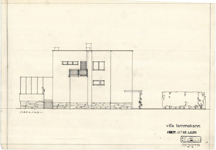 Southeast elevation, Villa Tammekann
