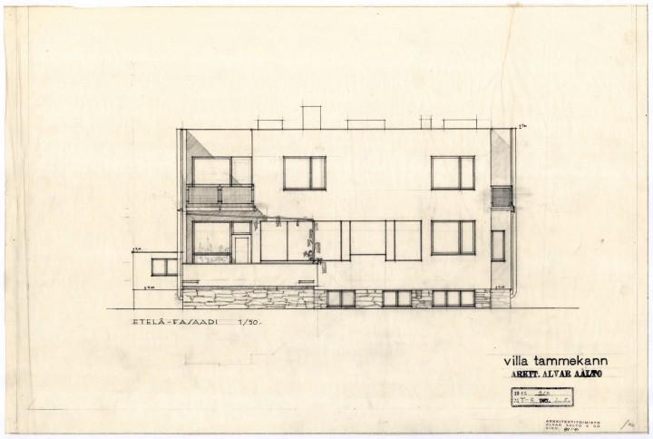 Southwest elevation, Villa Tammekann