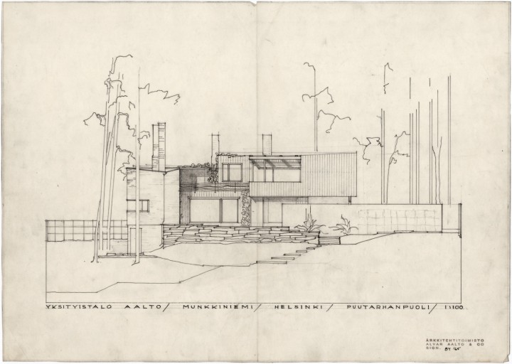 South elevation, The Aalto House
