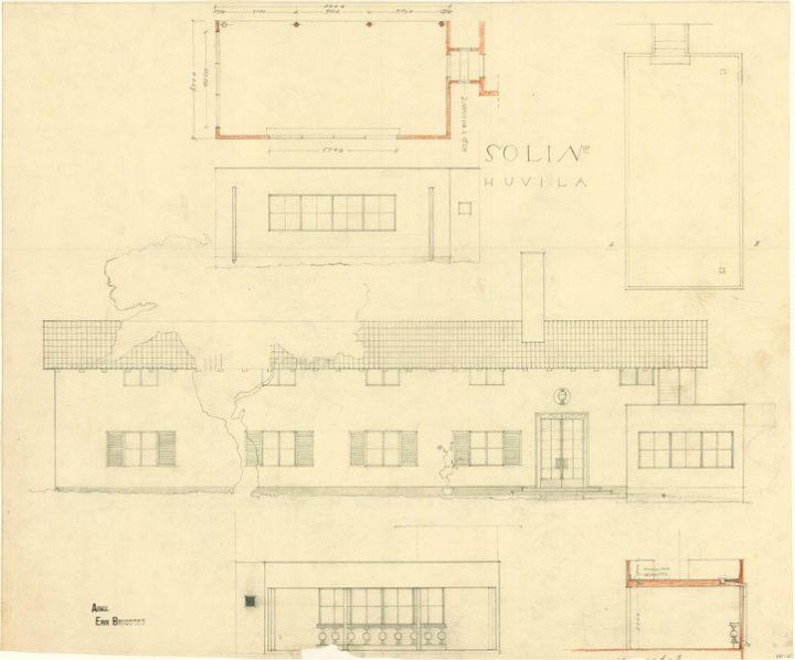 Façade sketches., Villa Solin