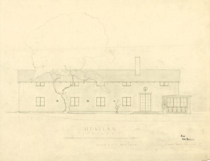 Original façade design with classicist decoration motifs., Villa Solin