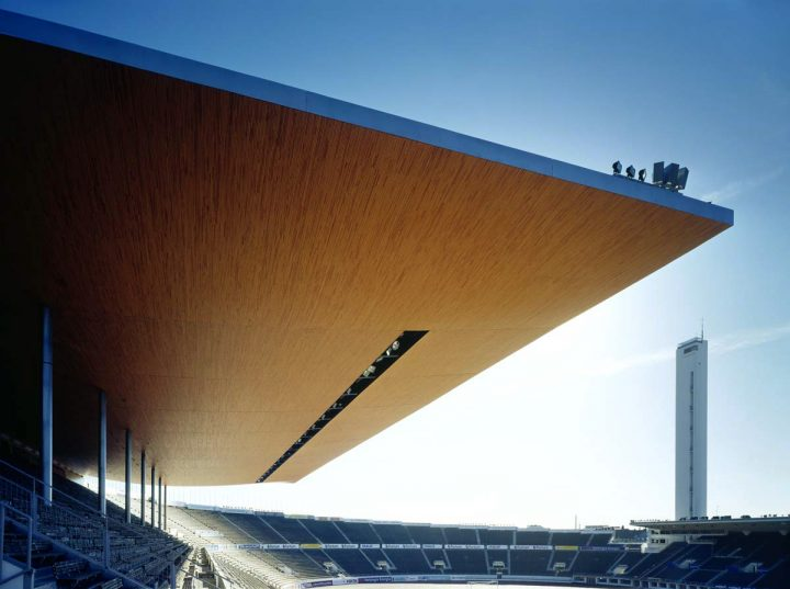 East stand canopy by K2S architects., Olympic Stadium