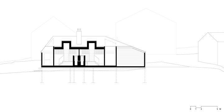 Longitudinal section, Lonna Sauna