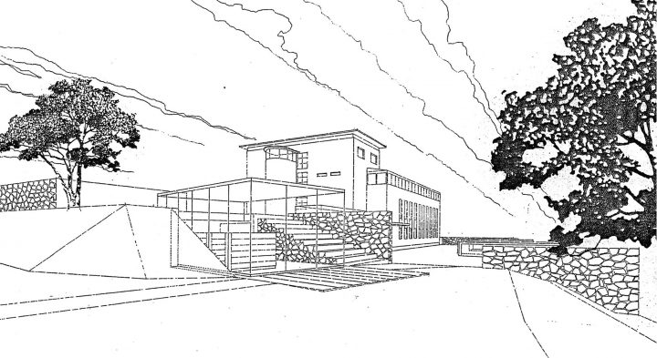 Perspective drawing, competition entry 2003, Åland Maritime Museum
