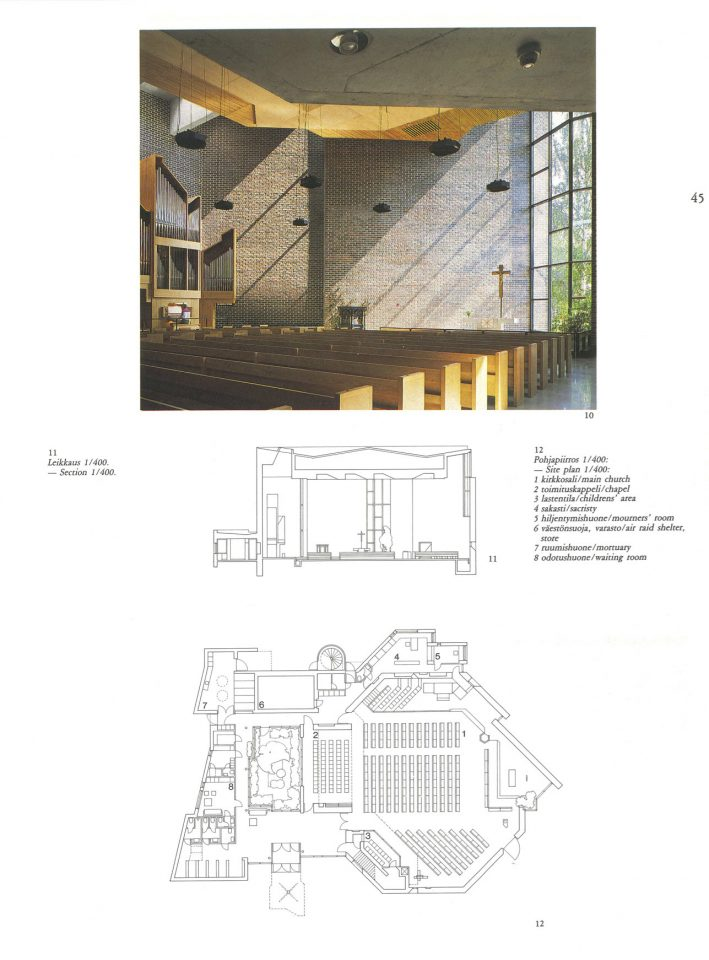 Floor plan published in the Finnish Architectural Review 4/1985, Harjavalta Church