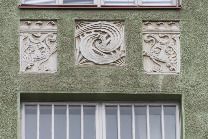 Detail of the street façade, Aeolus House