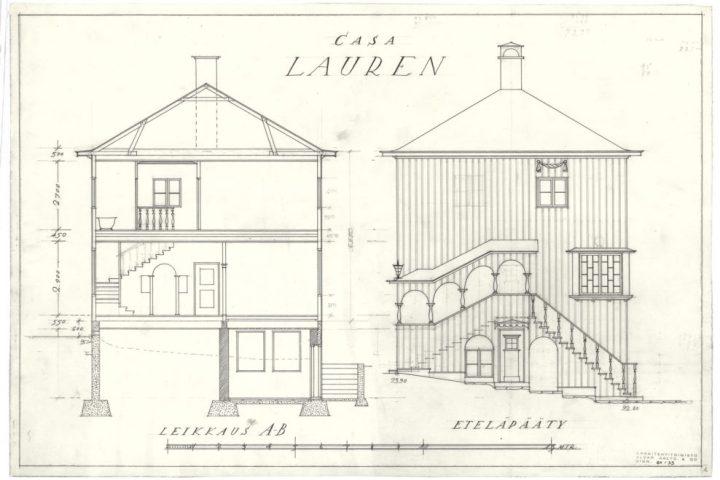 Section and south facade, Casa Lauren