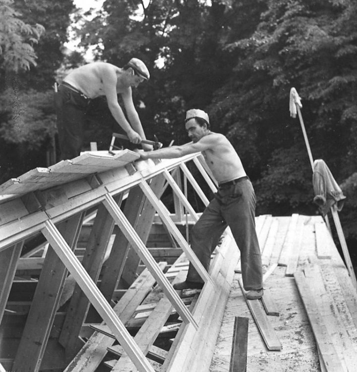 Construction site in 1956, Aalto Pavilion