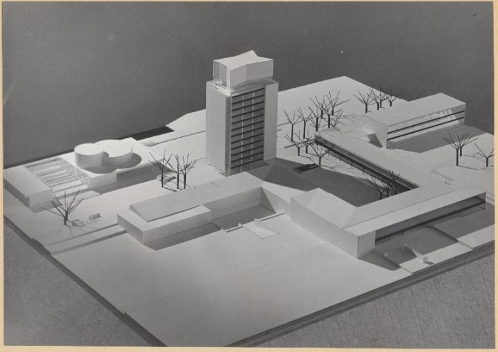 Aarne Ervi's scale plan of Tapiola centre, Tapiola Central Tower