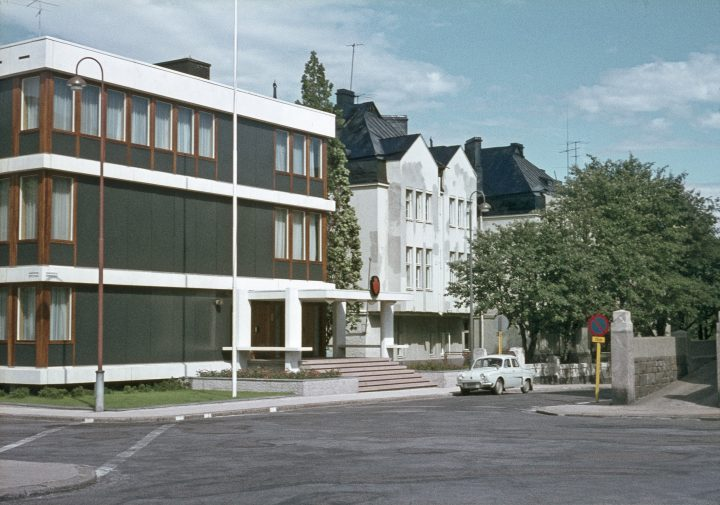 The modernist building of the embassy of Norway in the middle of the art nouveau district, Eira Villa District