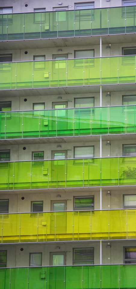 Courtyard side facade with access galleries, The Greenest Block of Flats