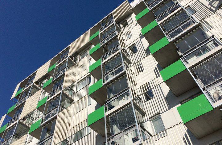 Street side facade, The Greenest Block of Flats