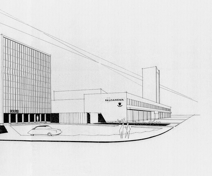 The original perspective drawing by Olaf Küttner Architects, Police Station & Fire Department