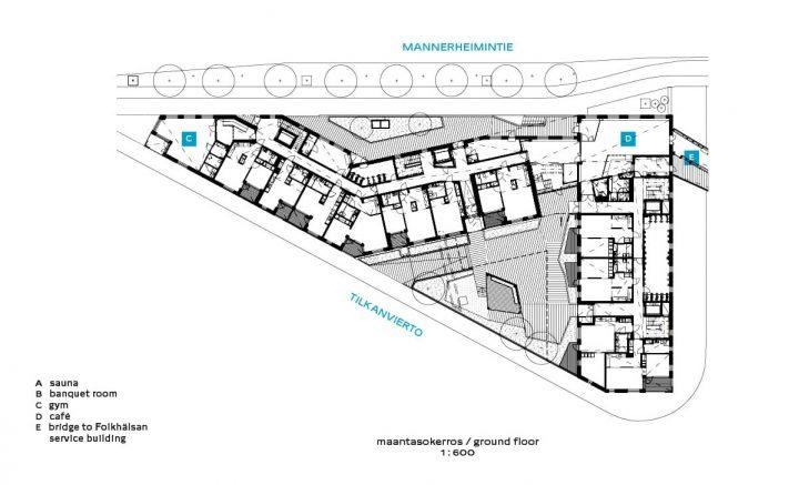 Site plan and ground floor, Gullkronan Senior Housing