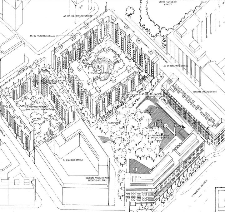 Perspective plan, Haapapuistikko, Hämeenpuistikko and Vetehisenkuja 2 Housing