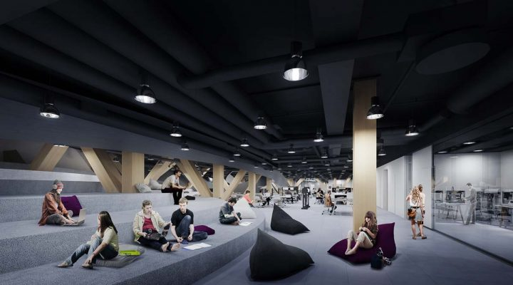 Illustration of the 1st floor spaces, Helsinki Central Library Oodi