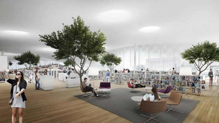Illustration of the 2nd floor library spaces, Helsinki Central Library