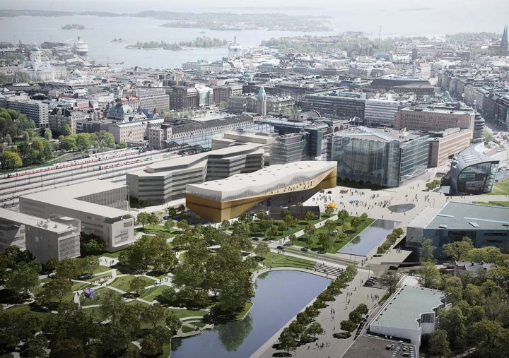 Illustration of the library incorporated in an aerial view, Helsinki Central Library