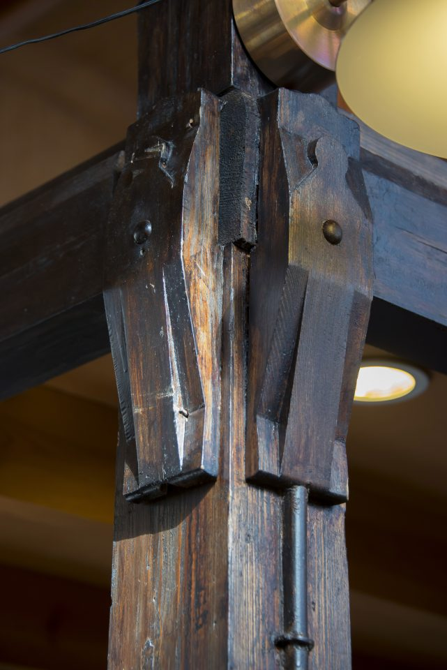 A detail of a wooden structure, Hietalahti Market Hall