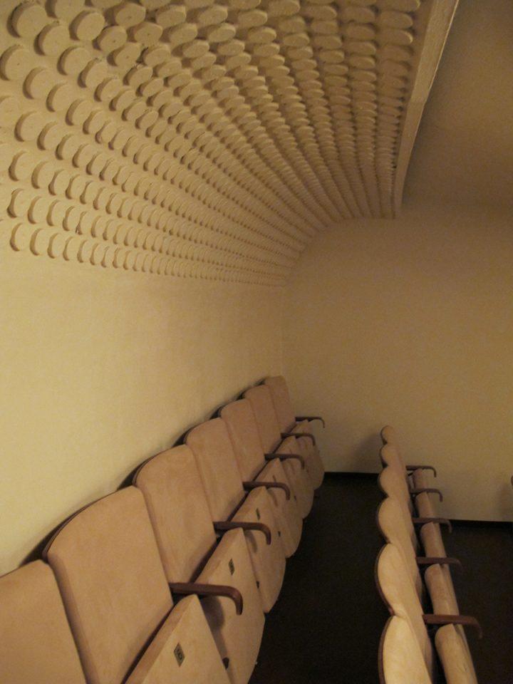 Acoustic roundels at the rear of the auditorium., Kiva Cinema