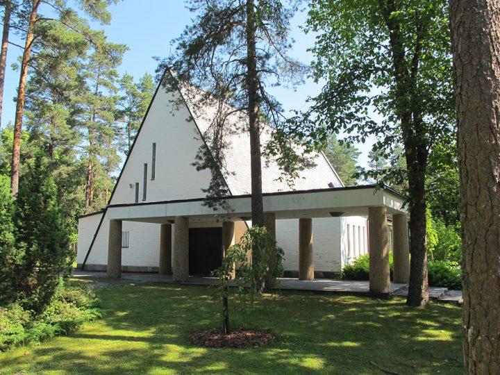 Entrance side., Metsola Funerary Chapel