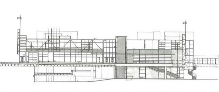 Shopping centre section plan and elevation, Itis Shopping Centre 1st phase