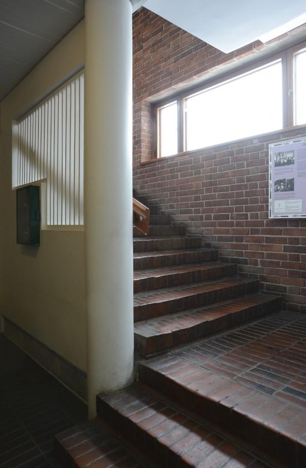 The main staircase of the student restaurant Lozzi , University of Jyväskylä, the Aalto's Campus