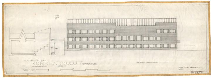 The original drawing of the teacher training school, University of Jyväskylä, the Aalto's Campus