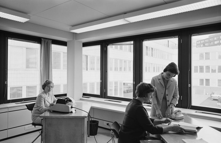 Interior photographed in 1965, Kallio Municipal Office Building