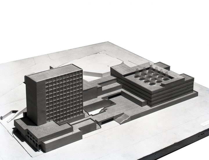 Competition scale model for the original site on Mannerheimintie street, 1948, National Pensions Institute