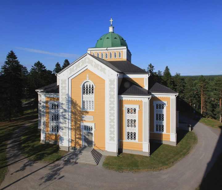 Church photographed from the bell tower, Kerimäki Wooden Church