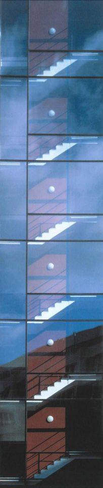Detail of a glass wall, Kesäkatu Housing